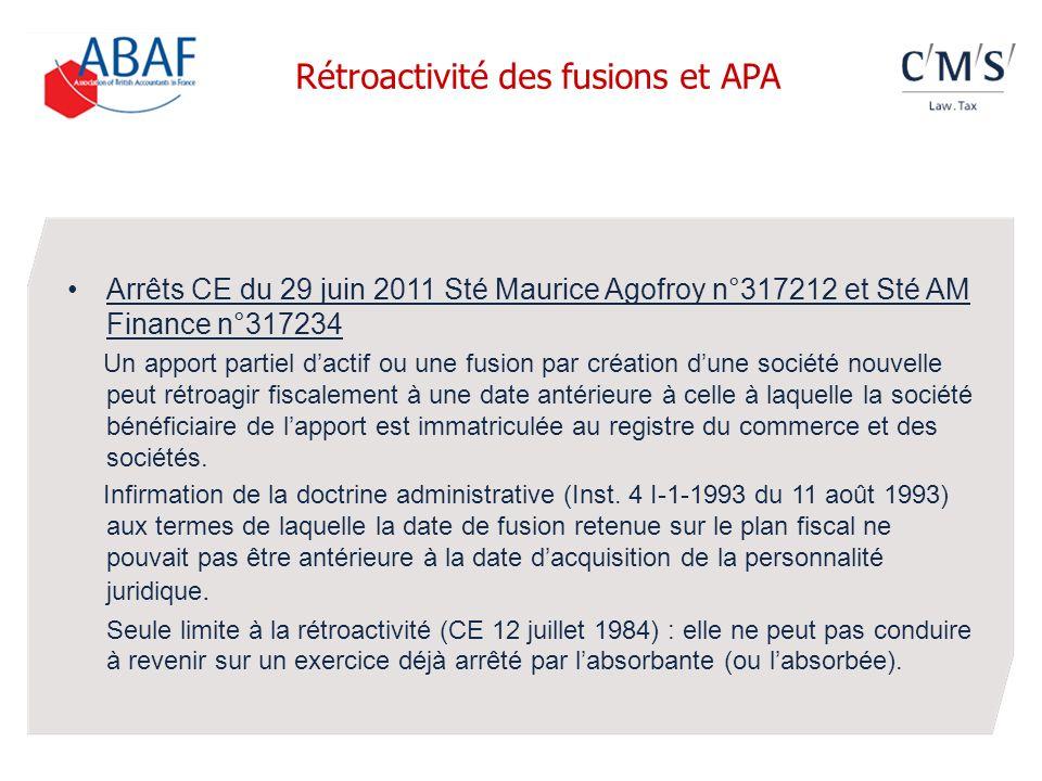 Rétroactivité des fusions et APA