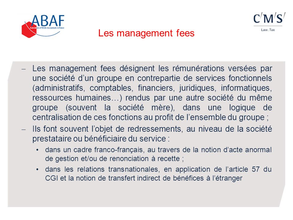 Les management fees