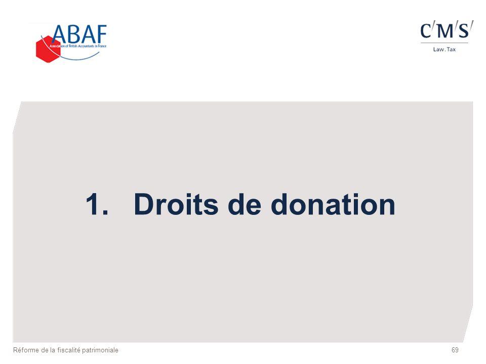 1. Droits de donation Réforme de la fiscalité patrimoniale