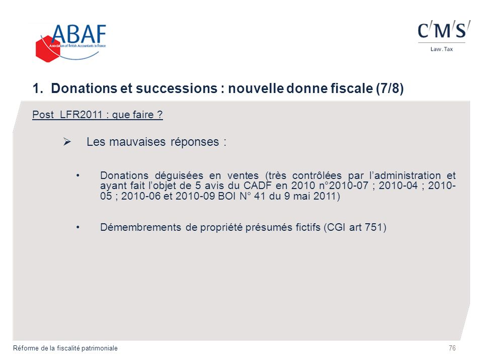 1. Donations et successions : nouvelle donne fiscale (7/8)