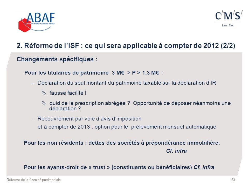 2. Réforme de l'ISF : ce qui sera applicable à compter de 2012 (2/2)