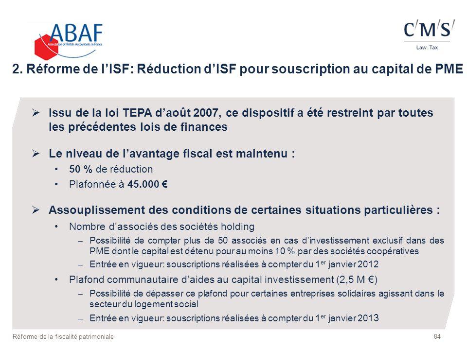 2. Réforme de l'ISF: Réduction d'ISF pour souscription au capital de PME