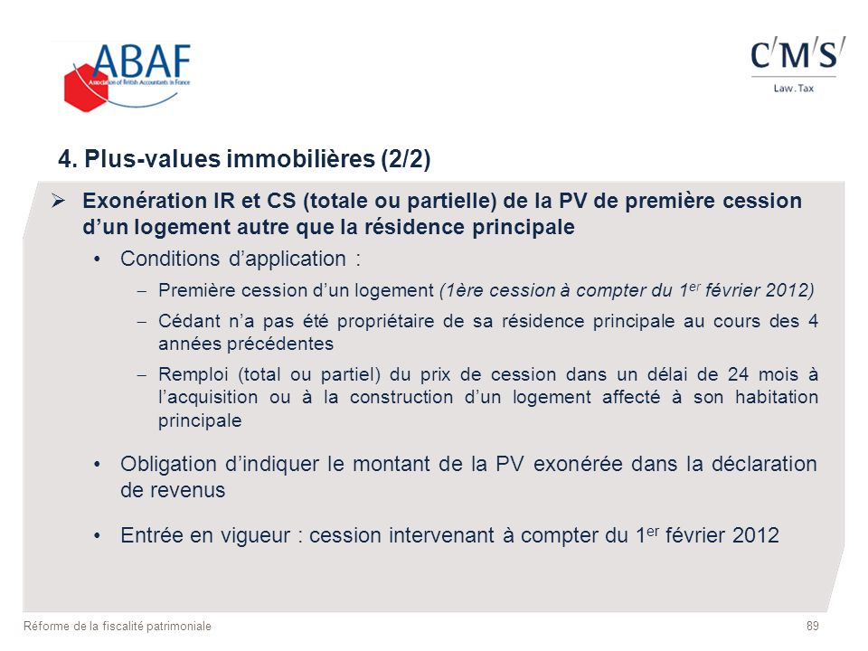 4. Plus-values immobilières (2/2)