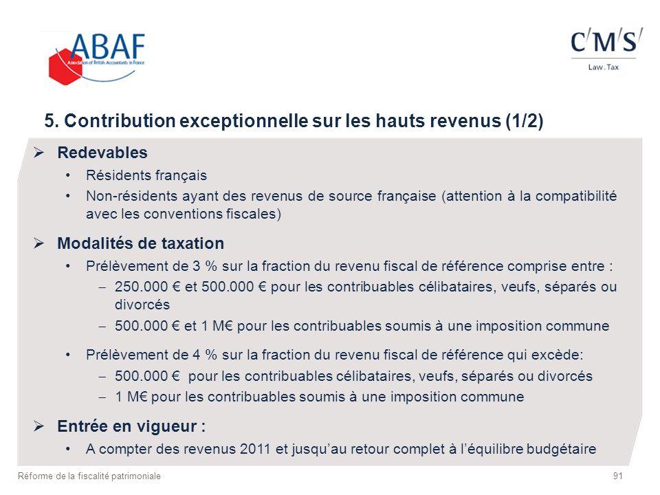 5. Contribution exceptionnelle sur les hauts revenus (1/2)