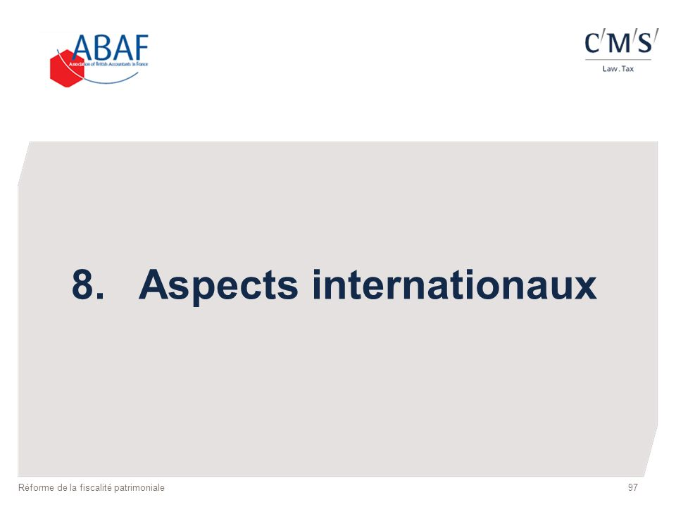 8. Aspects internationaux