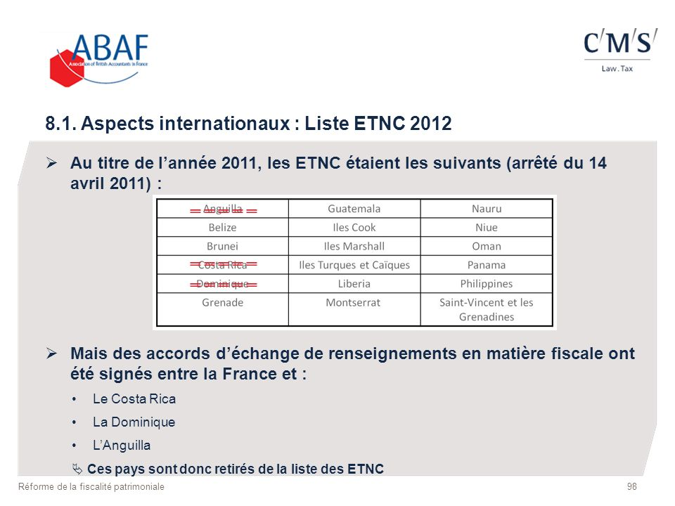8.1. Aspects internationaux : Liste ETNC 2012