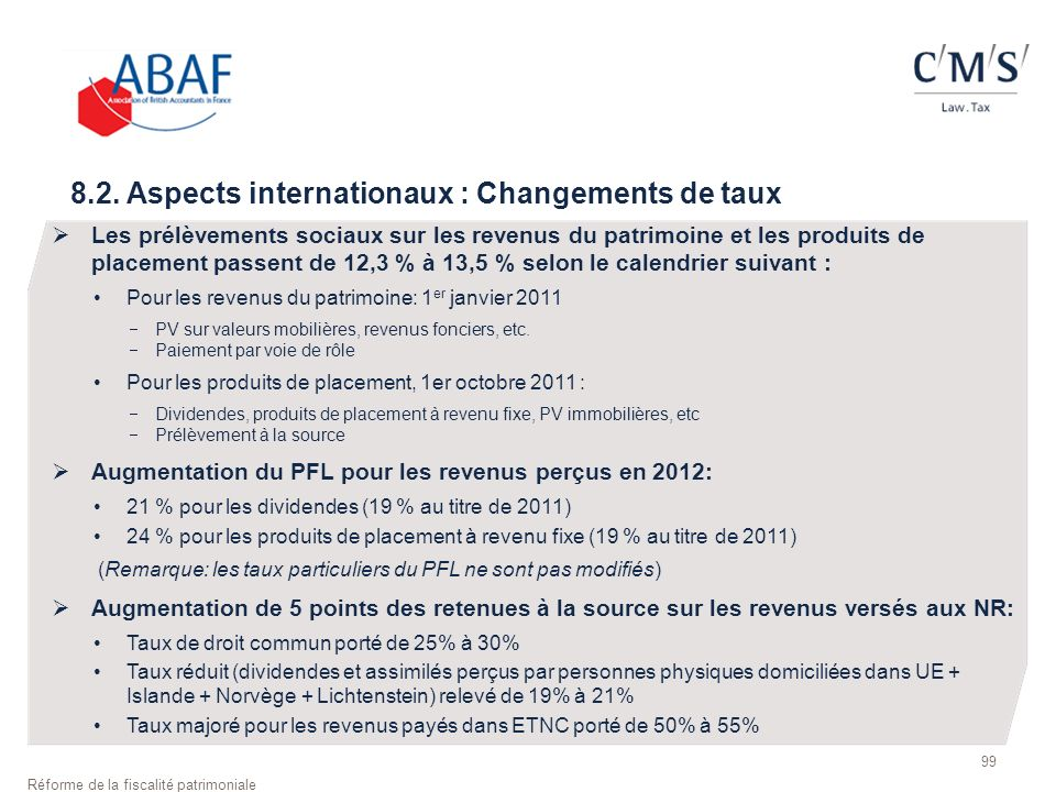 8.2. Aspects internationaux : Changements de taux