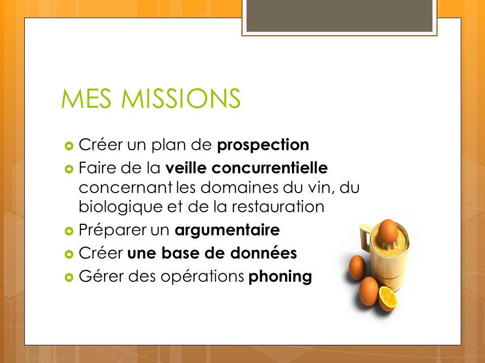 MES MISSIONS Créer un plan de prospection