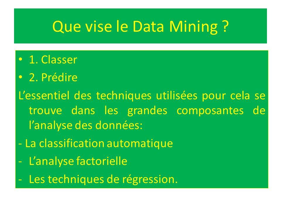 Que vise le Data Mining 1. Classer 2. Prédire