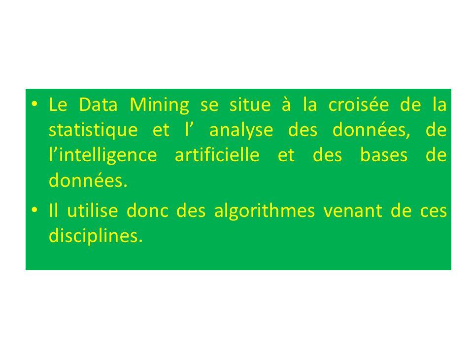 Le Data Mining se situe à la croisée de la statistique et l' analyse des données, de l'intelligence artificielle et des bases de données.