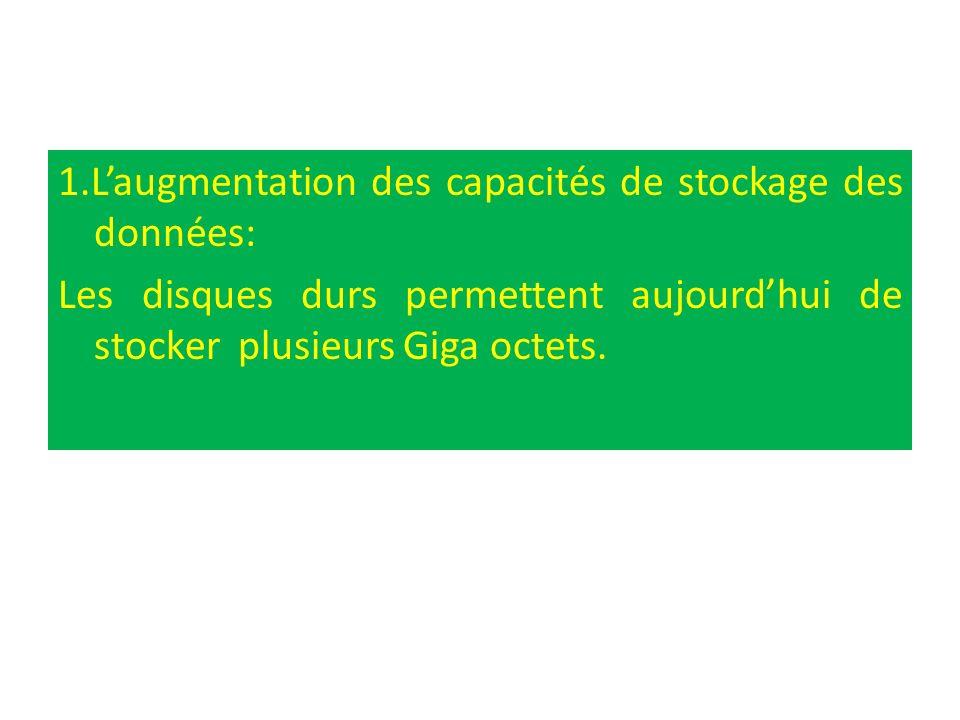 1.L'augmentation des capacités de stockage des données: Les disques durs permettent aujourd'hui de stocker plusieurs Giga octets.
