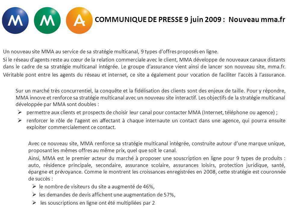 COMMUNIQUE DE PRESSE 9 juin 2009 : Nouveau mma.fr