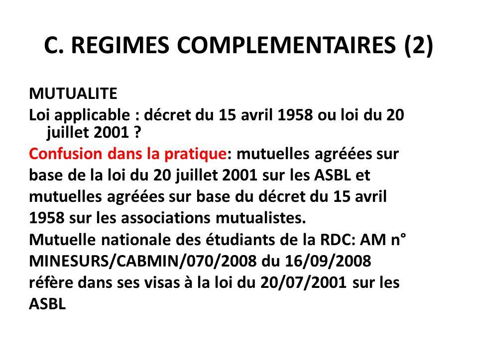 C. REGIMES COMPLEMENTAIRES (2)