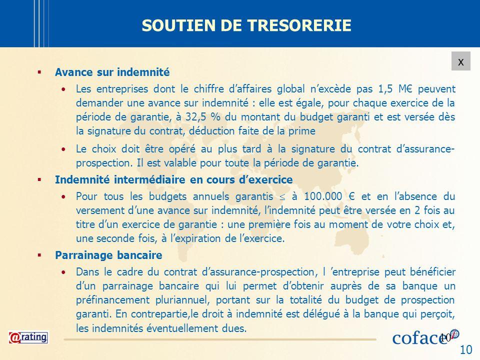 SOUTIEN DE TRESORERIE Avance sur indemnité