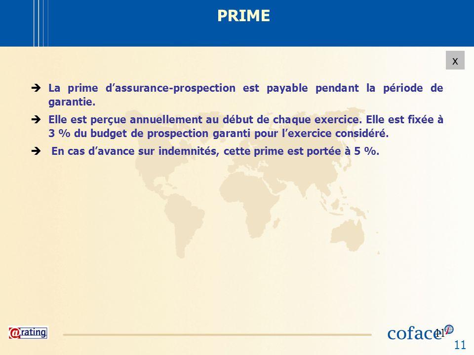 PRIME La prime d'assurance-prospection est payable pendant la période de garantie.