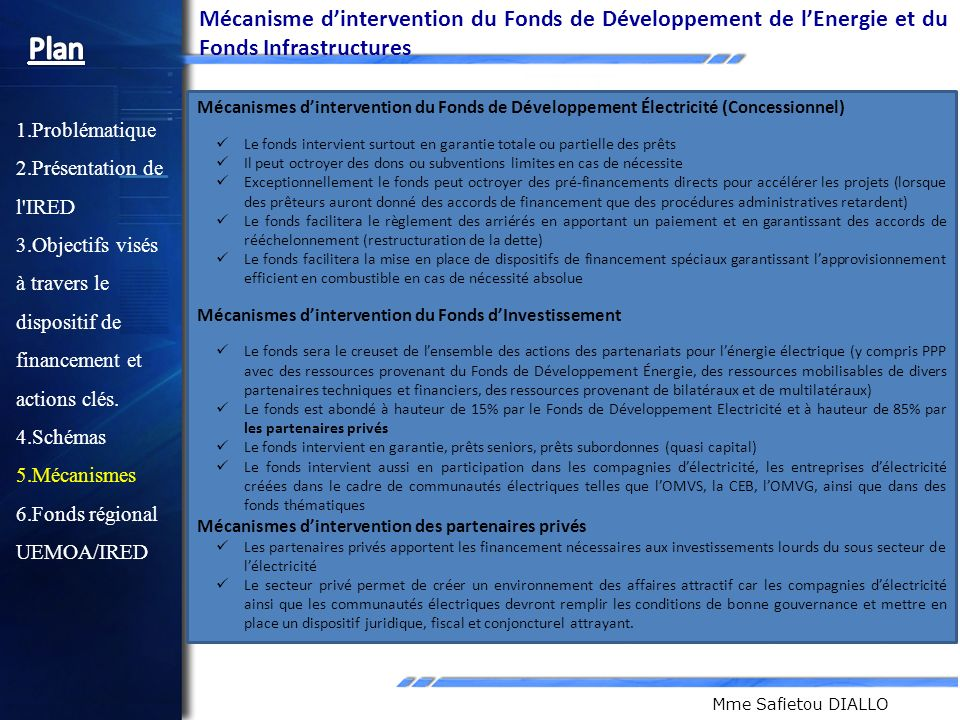 Mécanisme d'intervention du Fonds de Développement de l'Energie et du Fonds Infrastructures