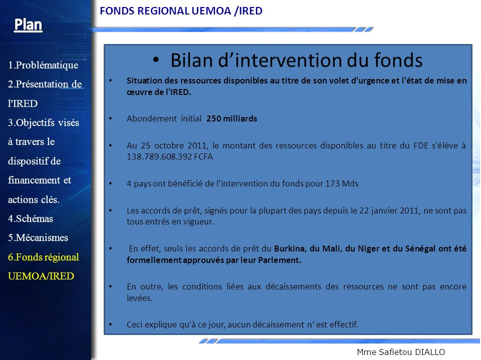 Bilan d'intervention du fonds