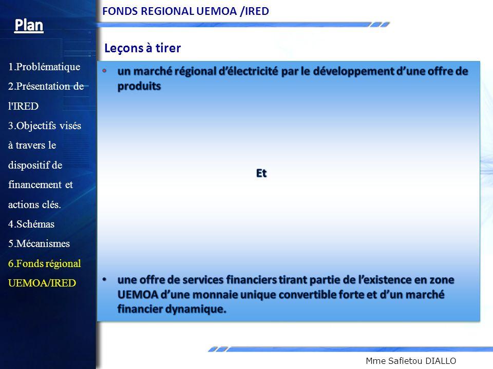 Plan Leçons à tirer FONDS REGIONAL UEMOA /IRED