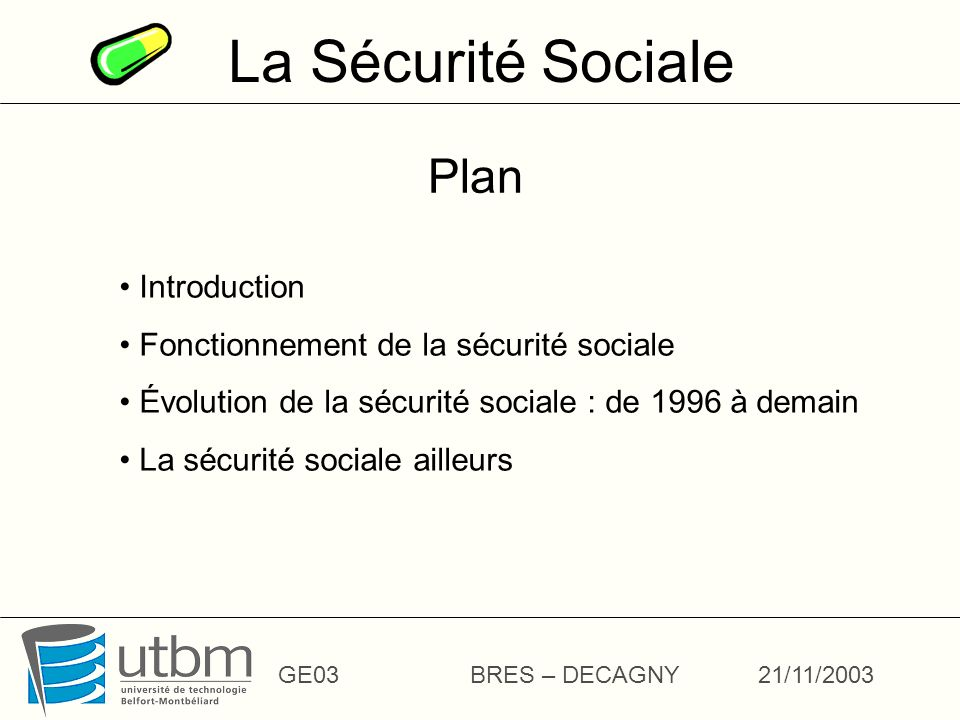 La Sécurité Sociale Plan Introduction