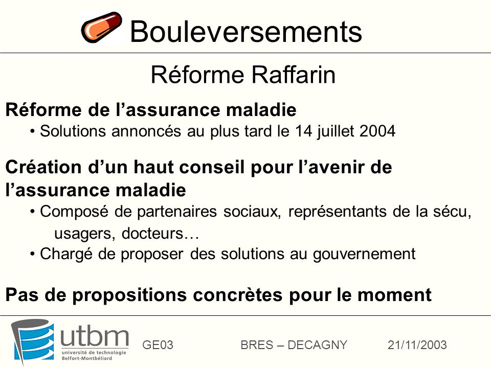 Bouleversements Réforme Raffarin Réforme de l'assurance maladie