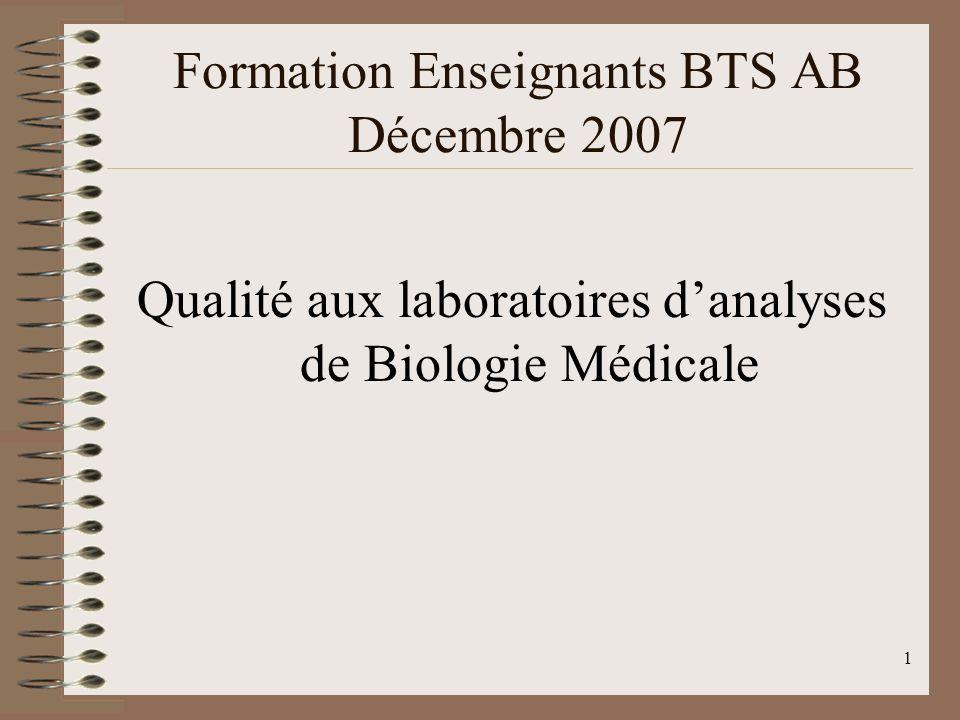 Formation Enseignants BTS AB Décembre 2007