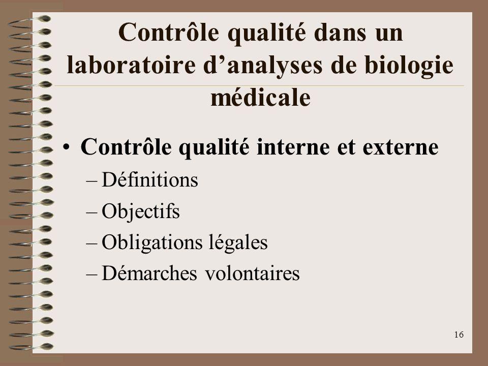 Contrôle qualité dans un laboratoire d'analyses de biologie médicale