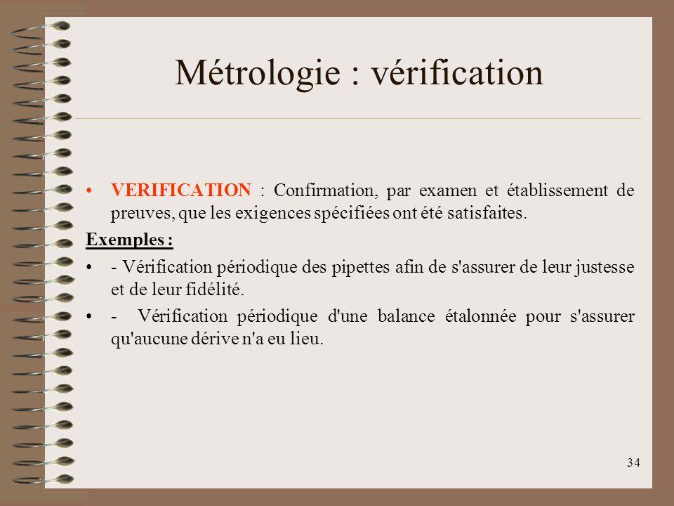Métrologie : vérification