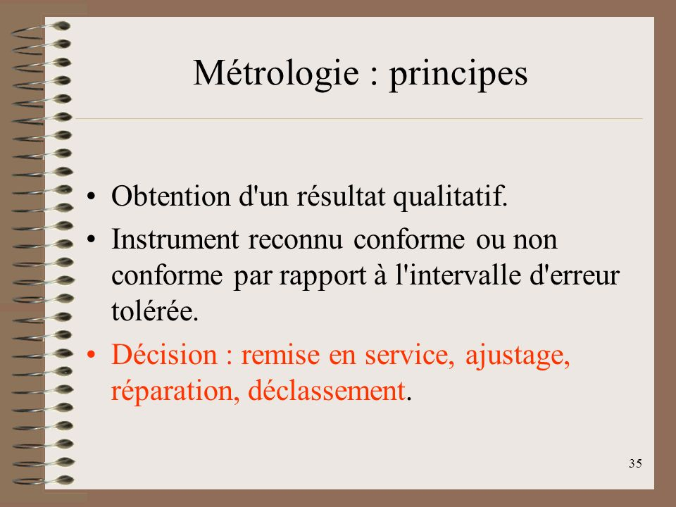 Métrologie : principes