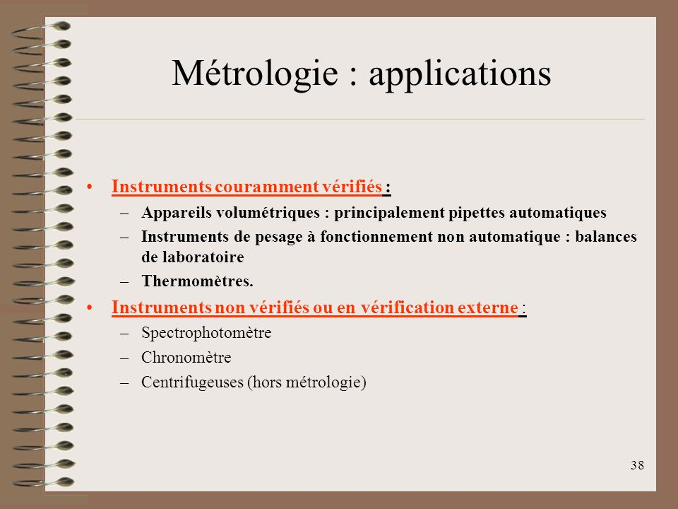 Métrologie : applications