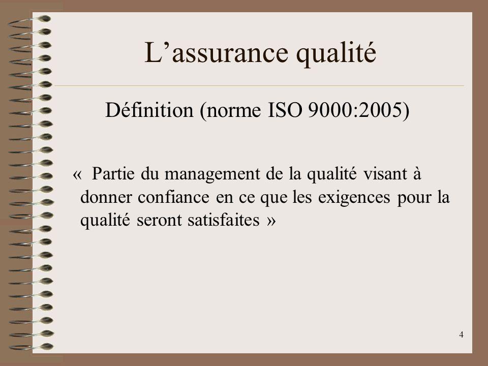 L'assurance qualité Définition (norme ISO 9000:2005)