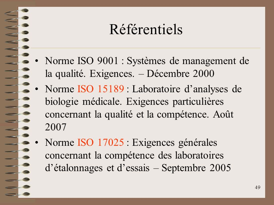Référentiels Norme ISO 9001 : Systèmes de management de la qualité. Exigences. – Décembre 2000.