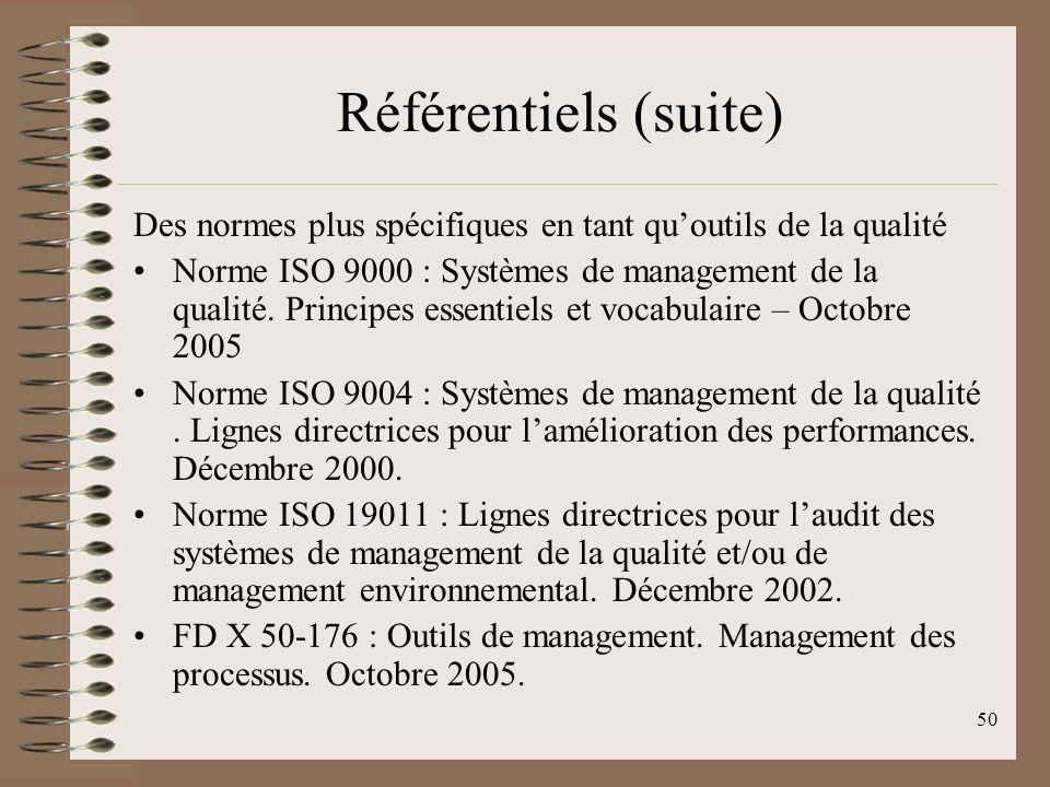 Référentiels (suite) Des normes plus spécifiques en tant qu'outils de la qualité.