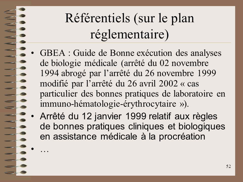Référentiels (sur le plan réglementaire)