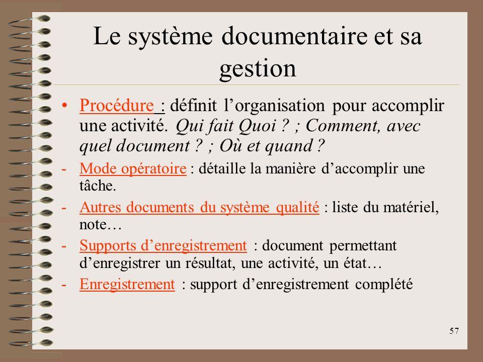 Le système documentaire et sa gestion