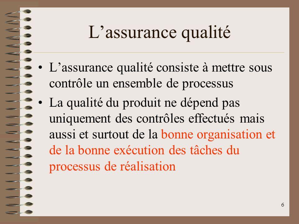L'assurance qualité L'assurance qualité consiste à mettre sous contrôle un ensemble de processus.
