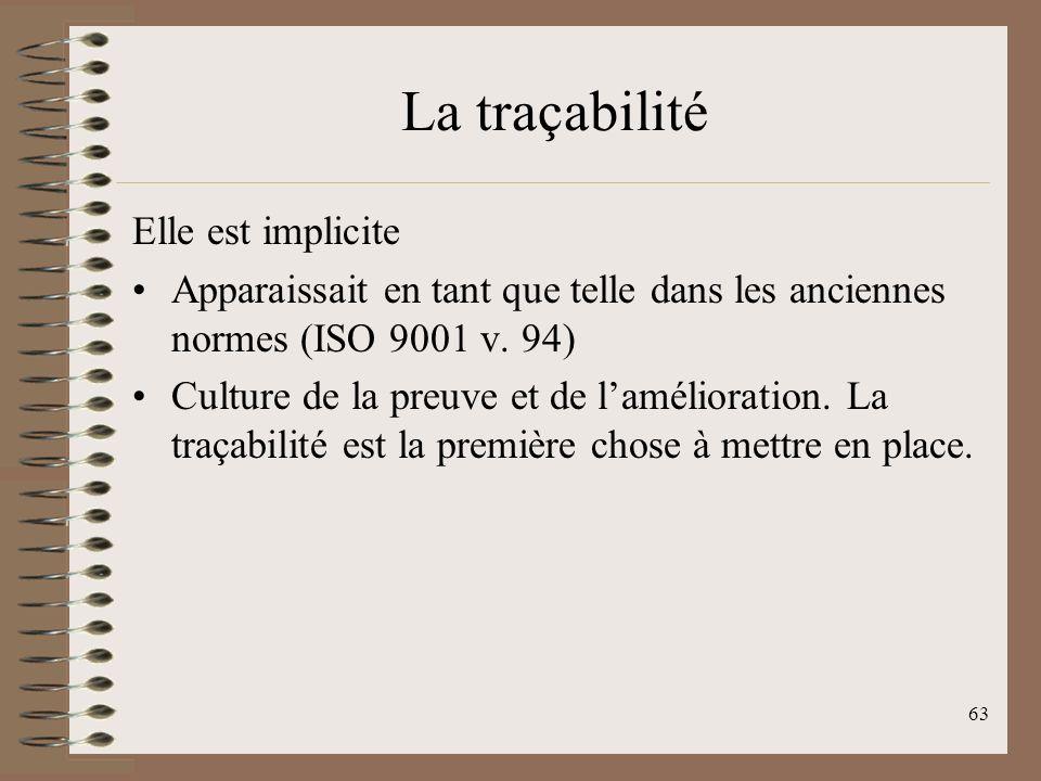 La traçabilité Elle est implicite