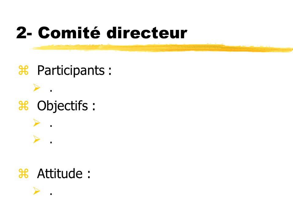 2- Comité directeur Participants : Objectifs : Attitude : .