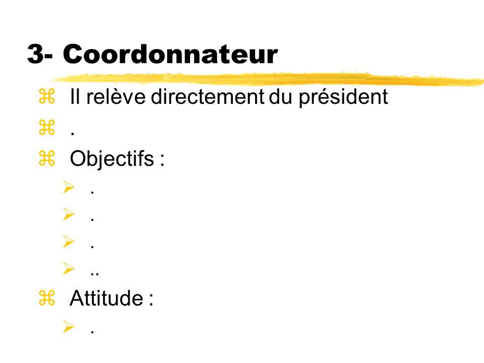 3- Coordonnateur Il relève directement du président . Objectifs :