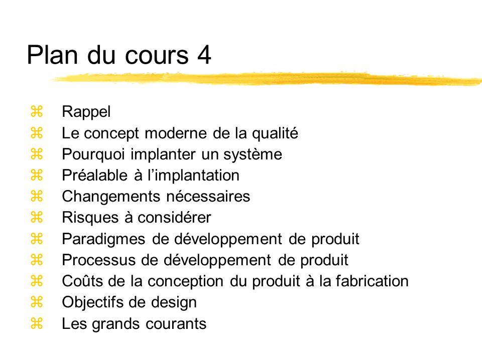 Plan du cours 4 Rappel Le concept moderne de la qualité