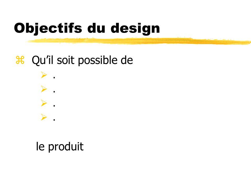 Objectifs du design Qu'il soit possible de . le produit