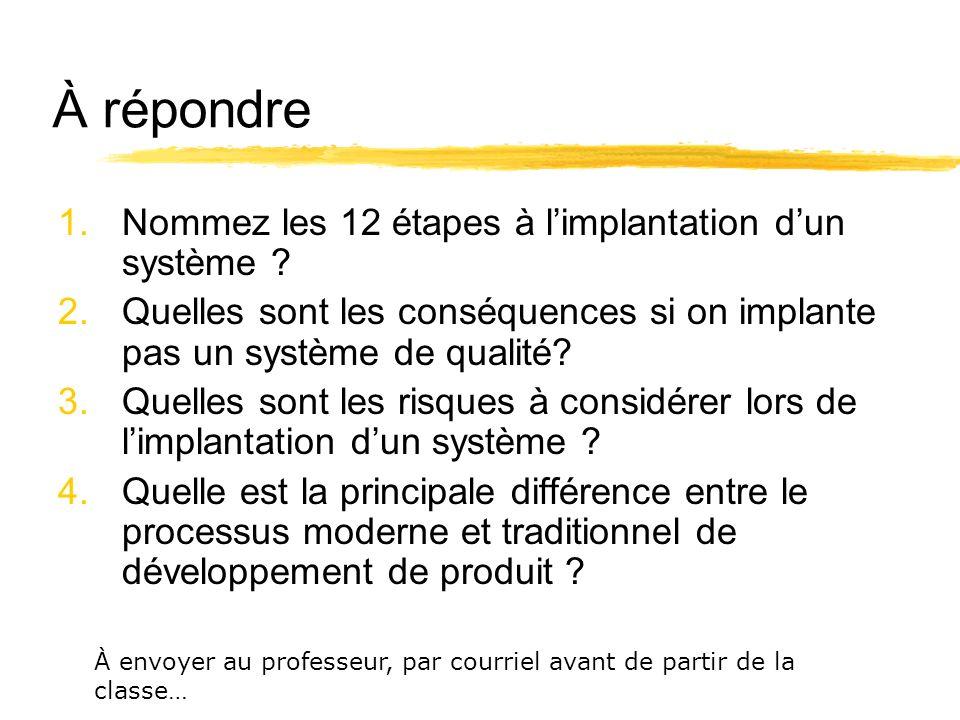 À répondre Nommez les 12 étapes à l'implantation d'un système