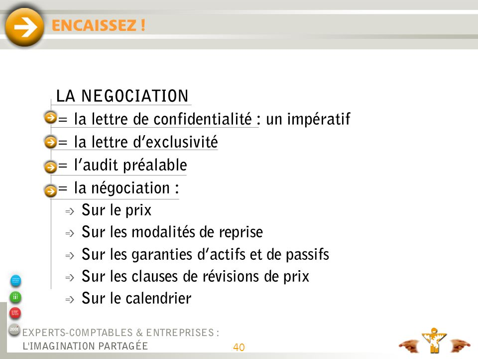 LA TRANSACTION = La signature : = La conclusion : ENCAISSEZ !