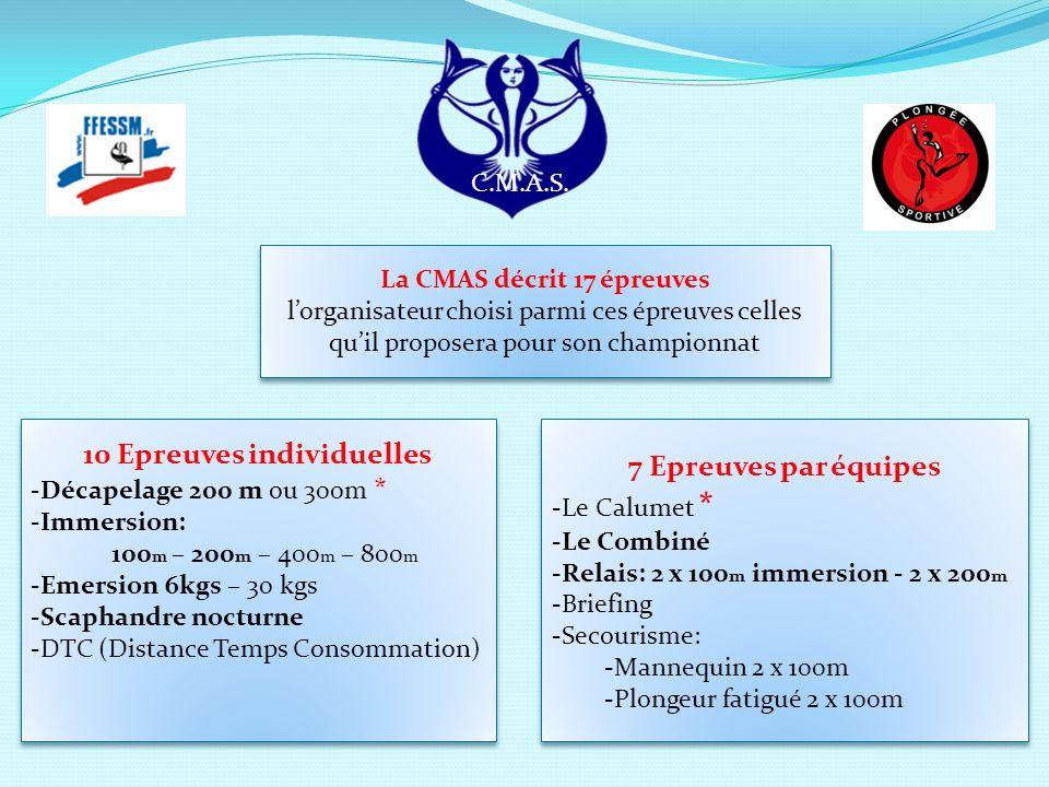 La CMAS décrit 17 épreuves 10 Epreuves individuelles
