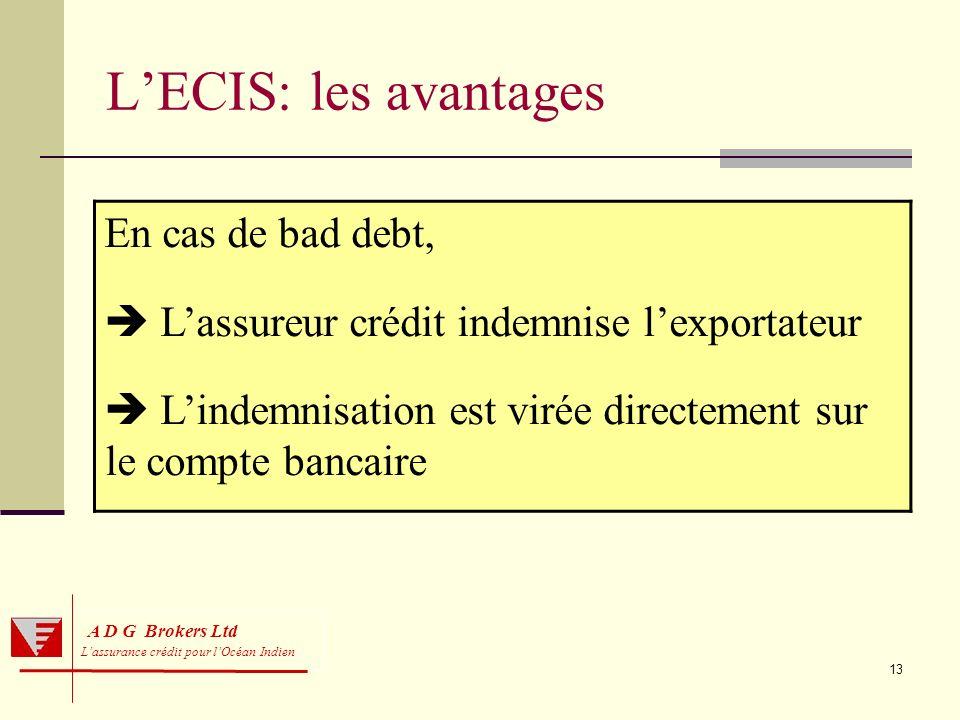 L'ECIS: les avantages En cas de bad debt,