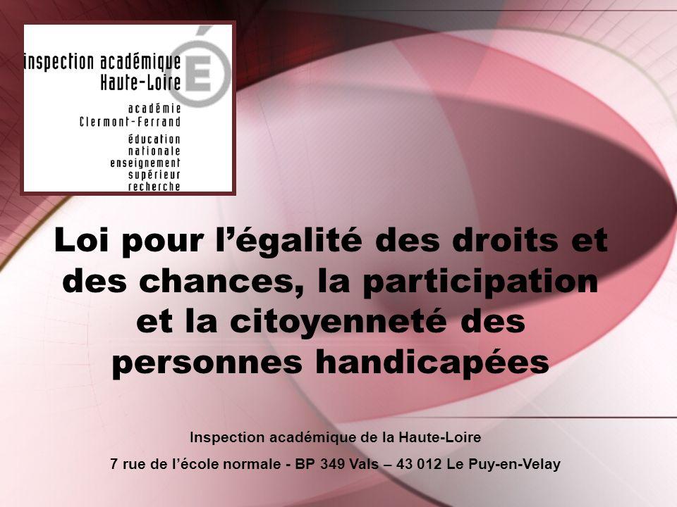Loi pour l'égalité des droits et des chances, la participation et la citoyenneté des personnes handicapées