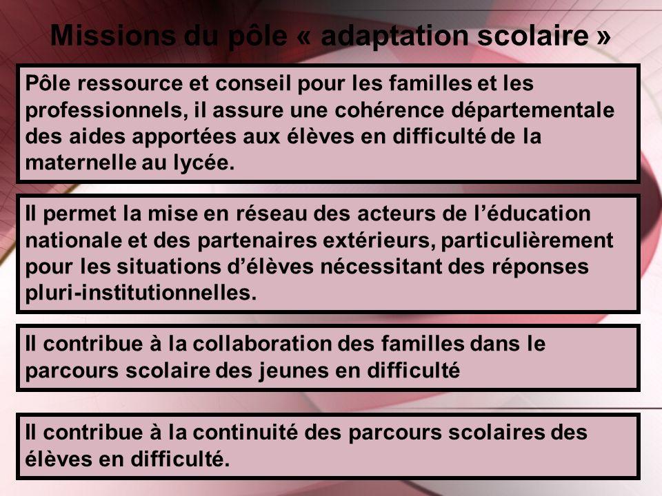 Missions du pôle « adaptation scolaire »