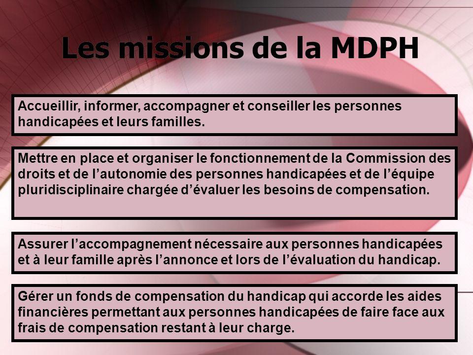 Les missions de la MDPH Accueillir, informer, accompagner et conseiller les personnes handicapées et leurs familles.
