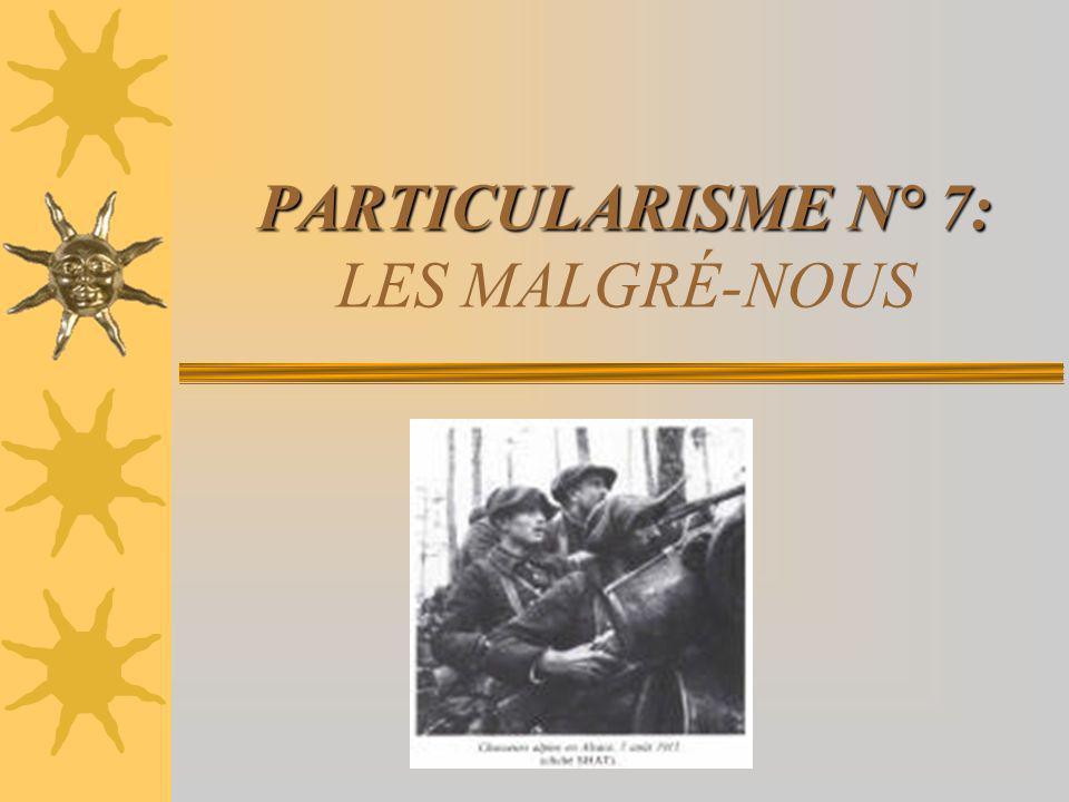 PARTICULARISME N° 7: LES MALGRÉ-NOUS