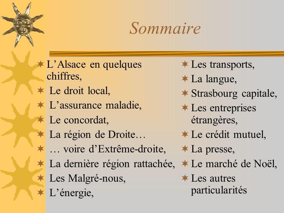 Sommaire L'Alsace en quelques chiffres, Le droit local,