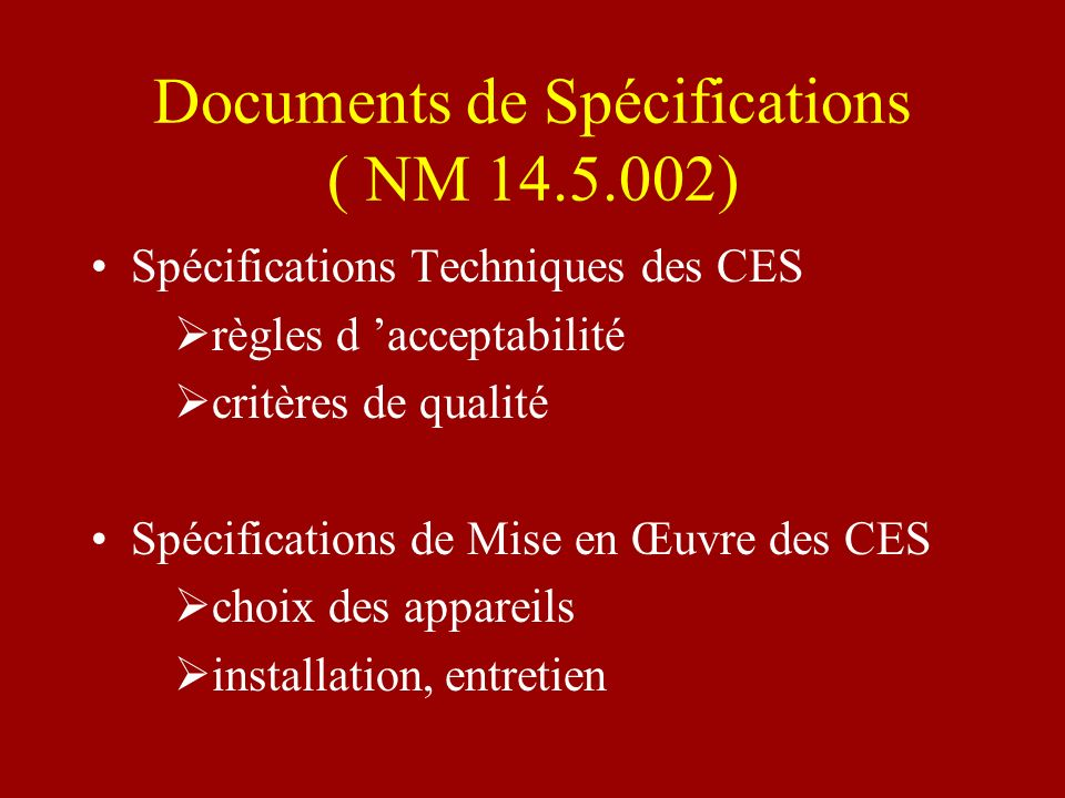 Documents de Spécifications ( NM )